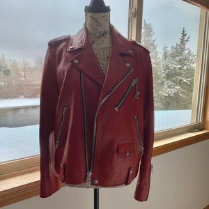 Coach Cardinal Red Leather Moto Biker Jacket 58656